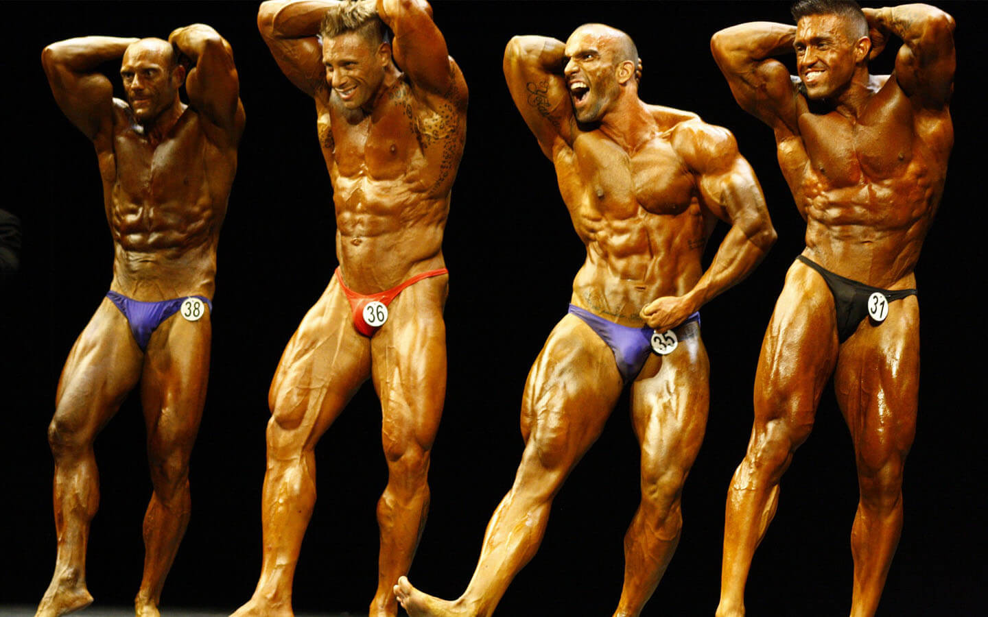 Group of male bodybuilding competitors